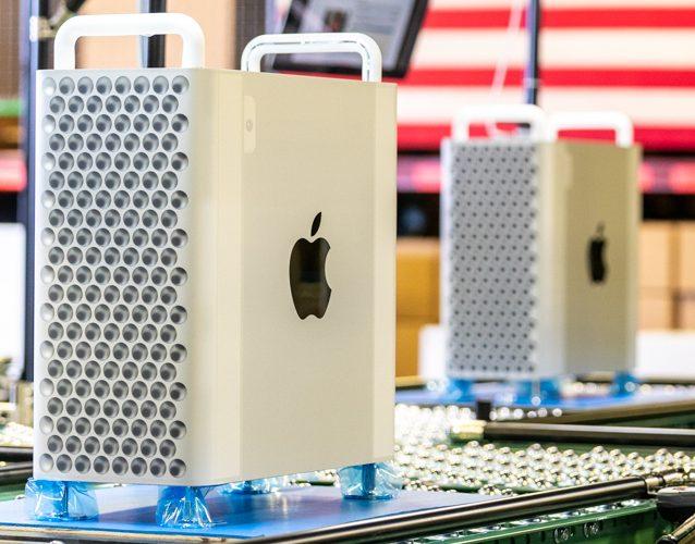 Mac Pro 2019 na linha de produção
