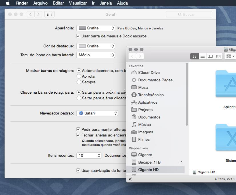 """Vá em Preferências do Sistema > Geral e escolha """"Usar barra de menus e Dock escuros"""""""
